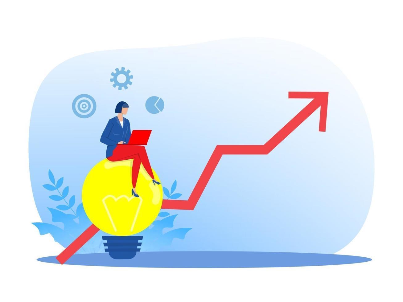 Geschäftsfrau schuf Idee mit Pfeil im Ziel, Zielerreichung Konzept, Vektor