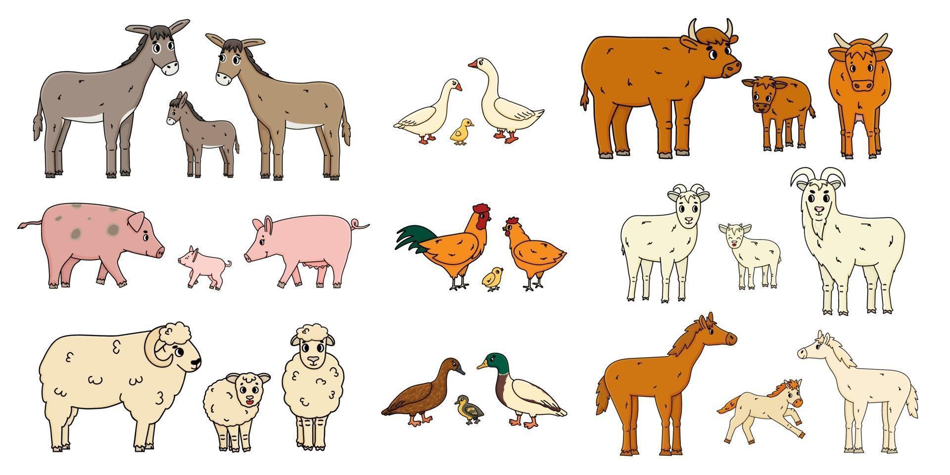 niedliche Bauernhoftierfamilien lokalisiert auf weißem Hintergrund. Vektor Cartoon Umriss Gekritzel Tiere Sammlung Esel Gans Kuh Ochse Schwein Schwein Huhn Henne Hahn Ziege Schaf Ente Pferd für Kinder Buch