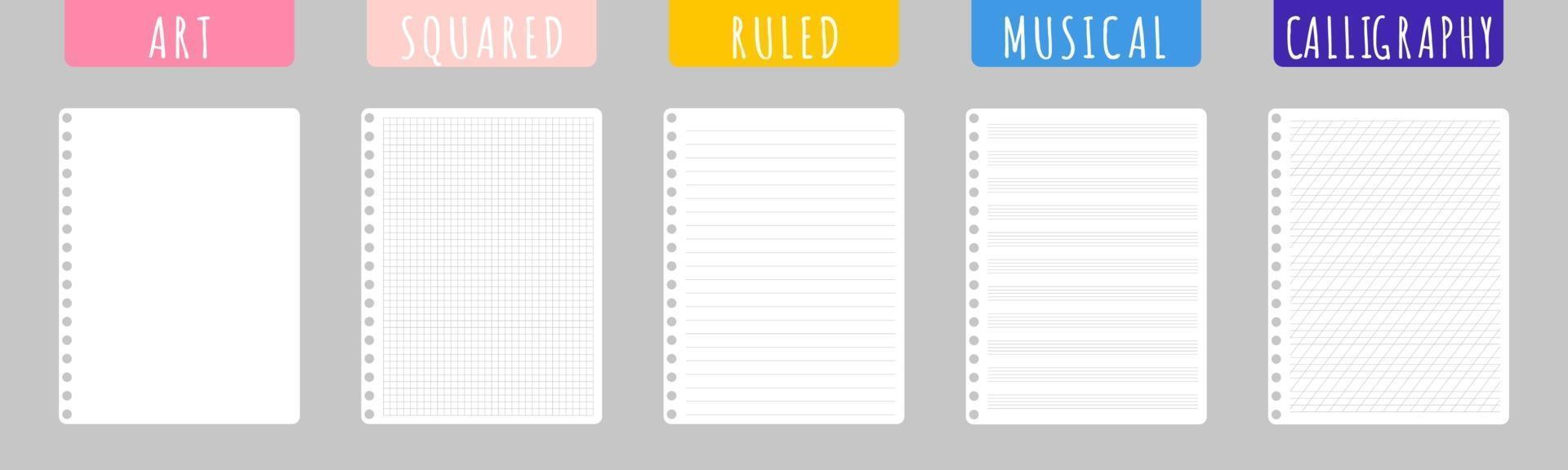 Satz Vektorkarikaturillustrationen mit sauberen Notizbuchblättern auf weißem Hintergrund. vektor