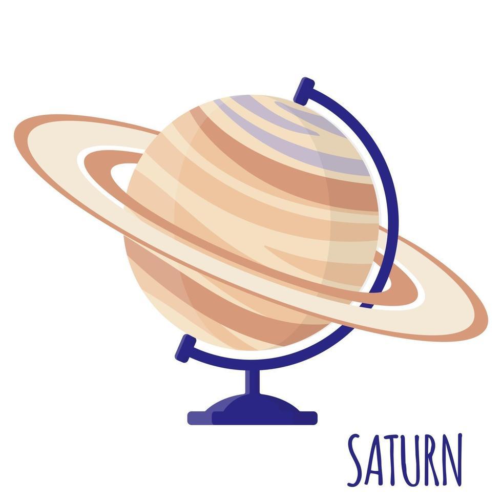 Vektor-Cartoon-Illustration mit Desktop-Schule Saturn-Globus lokalisiert auf weißem Hintergrund. vektor