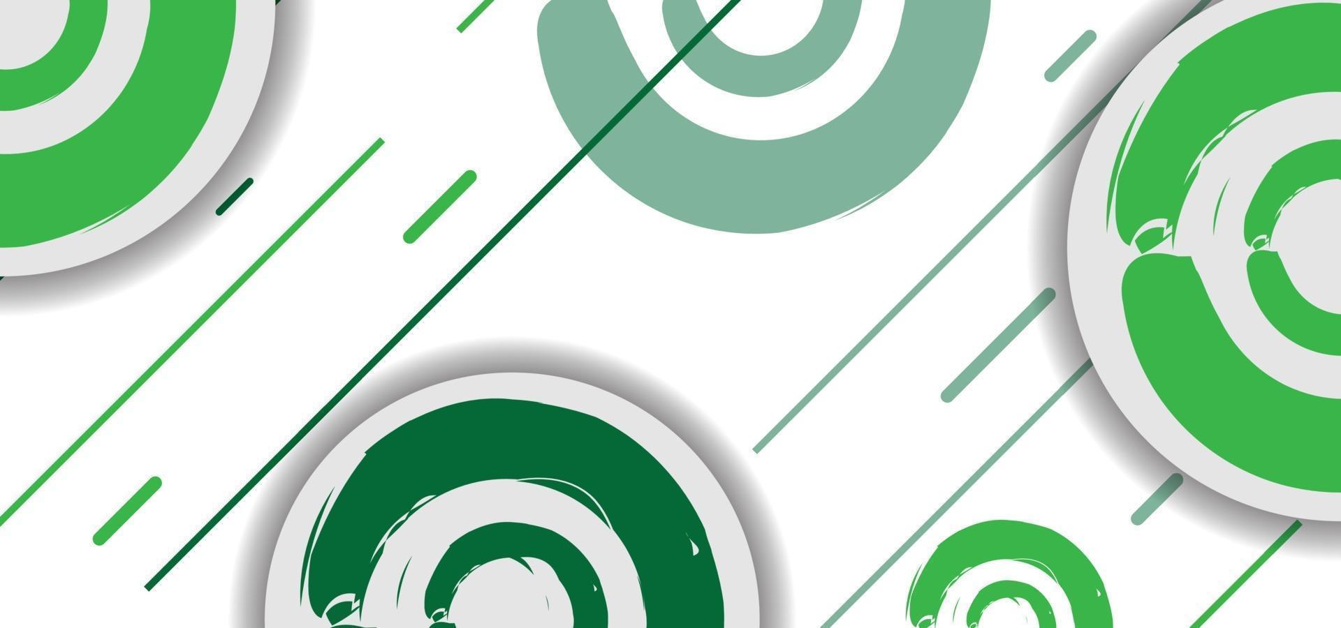 grüne geometrische Kreise und Linien nahtloses Muster oder Hintergrund vektor