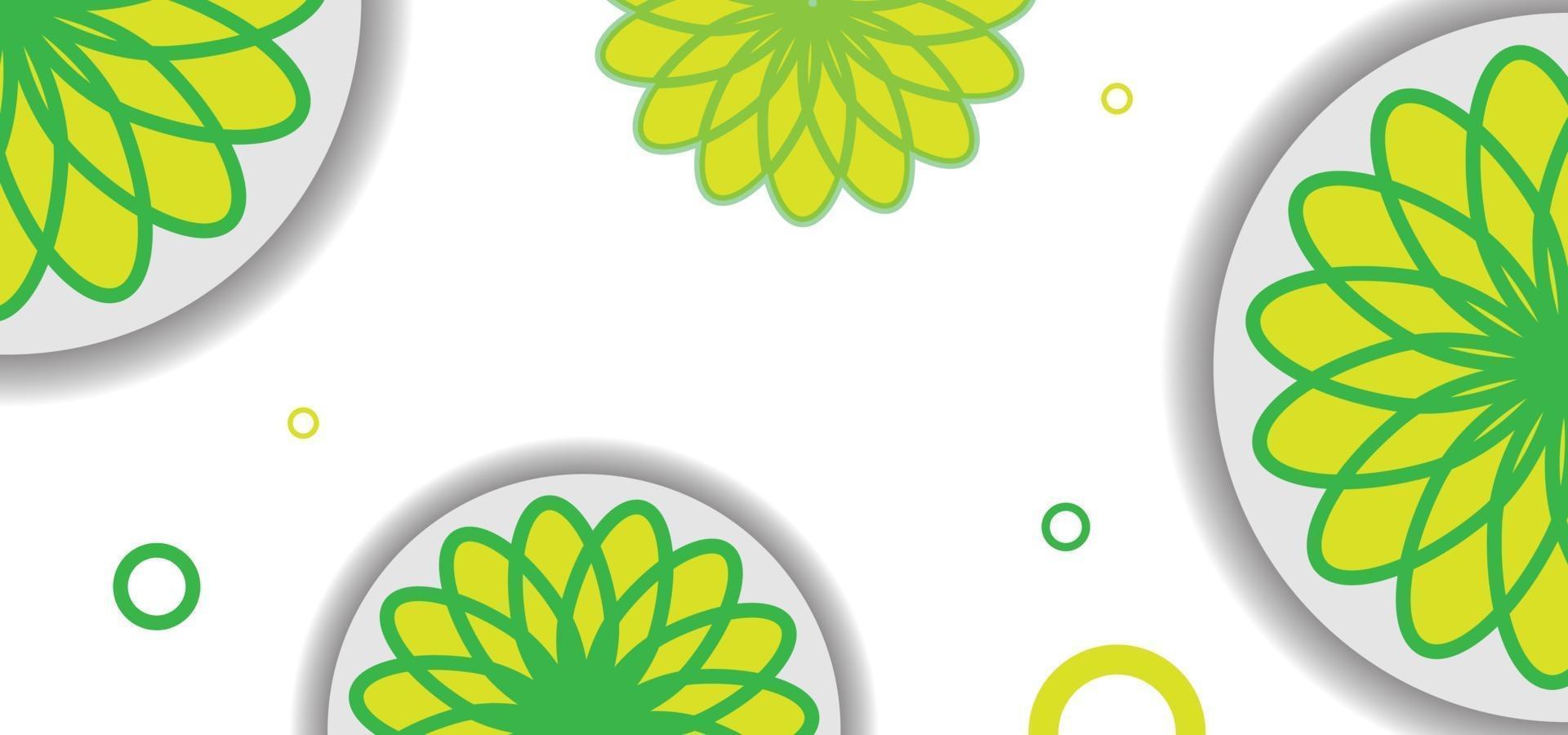 grön och gul sömlös blommönster eller bakgrund vektor