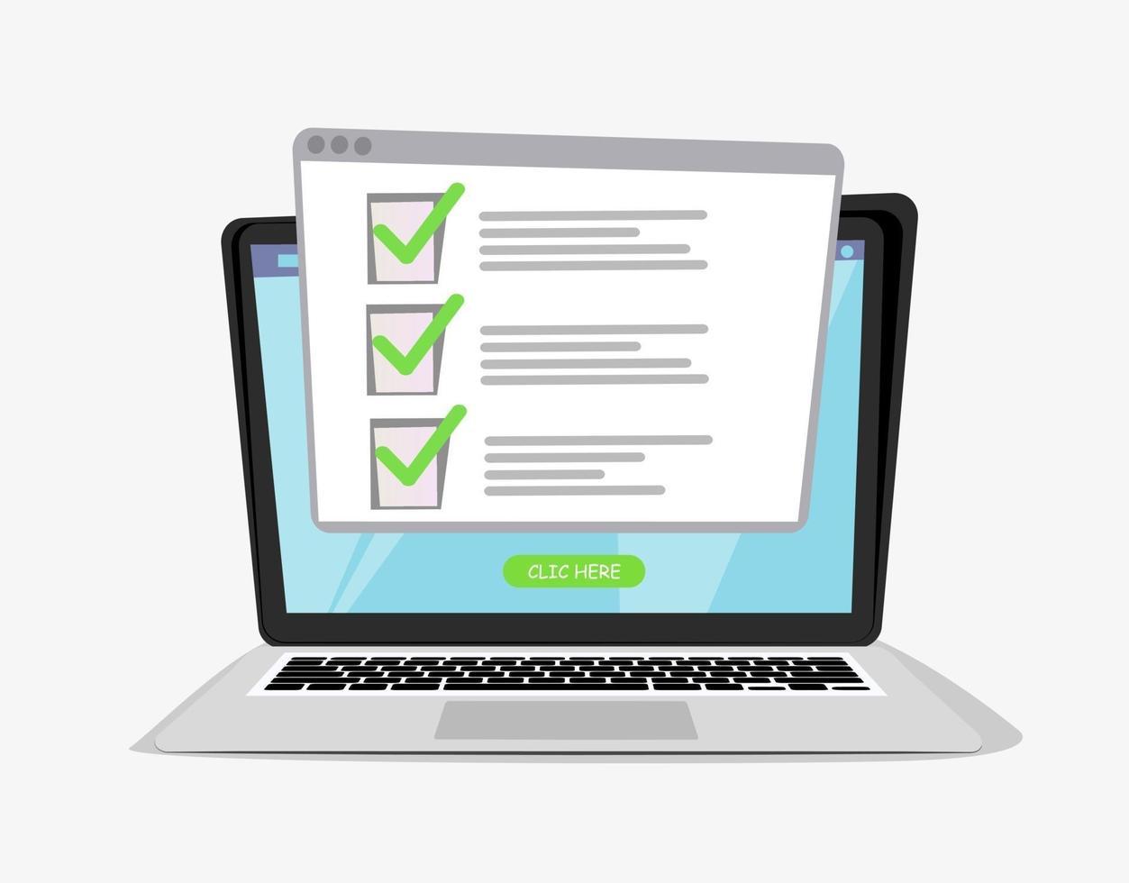 Computer Laptop mit Online-Quiz Formular Checkliste auf dem Bildschirm. Online-Checkliste auf dem Laptop-Display. Abbildung der Checkliste, Umfrage Online-Laptop. vektor