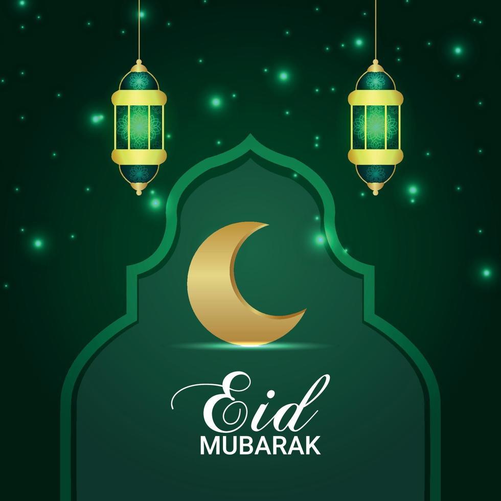 eid mubarak inbjudan vektorillustration av guldmånen och lyktan vektor