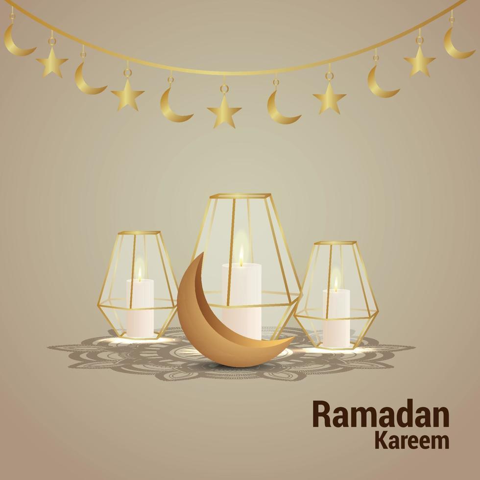 ramadan kareem vektorillustration med gyllene månen och kreativ lykta vektor