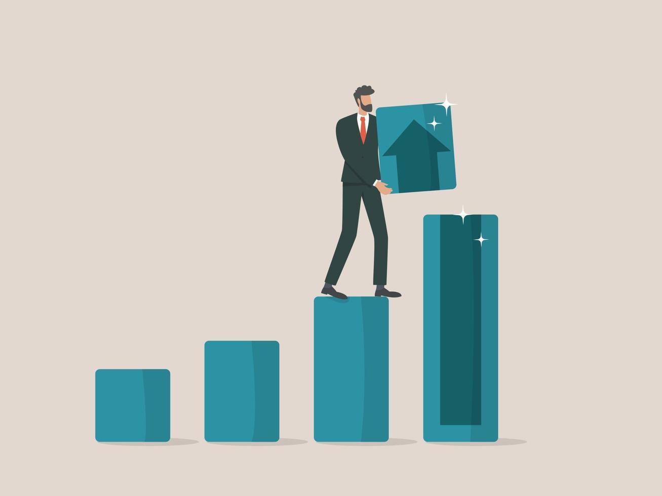 affärsidé tillväxt koncept, affärsman sätta trä block på torn graf vektor
