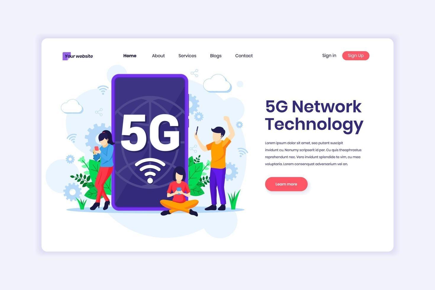Zielseiten-Designkonzept der 5g-Netzwerktechnologie. Personen, die eine drahtlose Hochgeschwindigkeitsverbindung 5g auf ihrem Mobiltelefon verwenden. Vektorillustration vektor