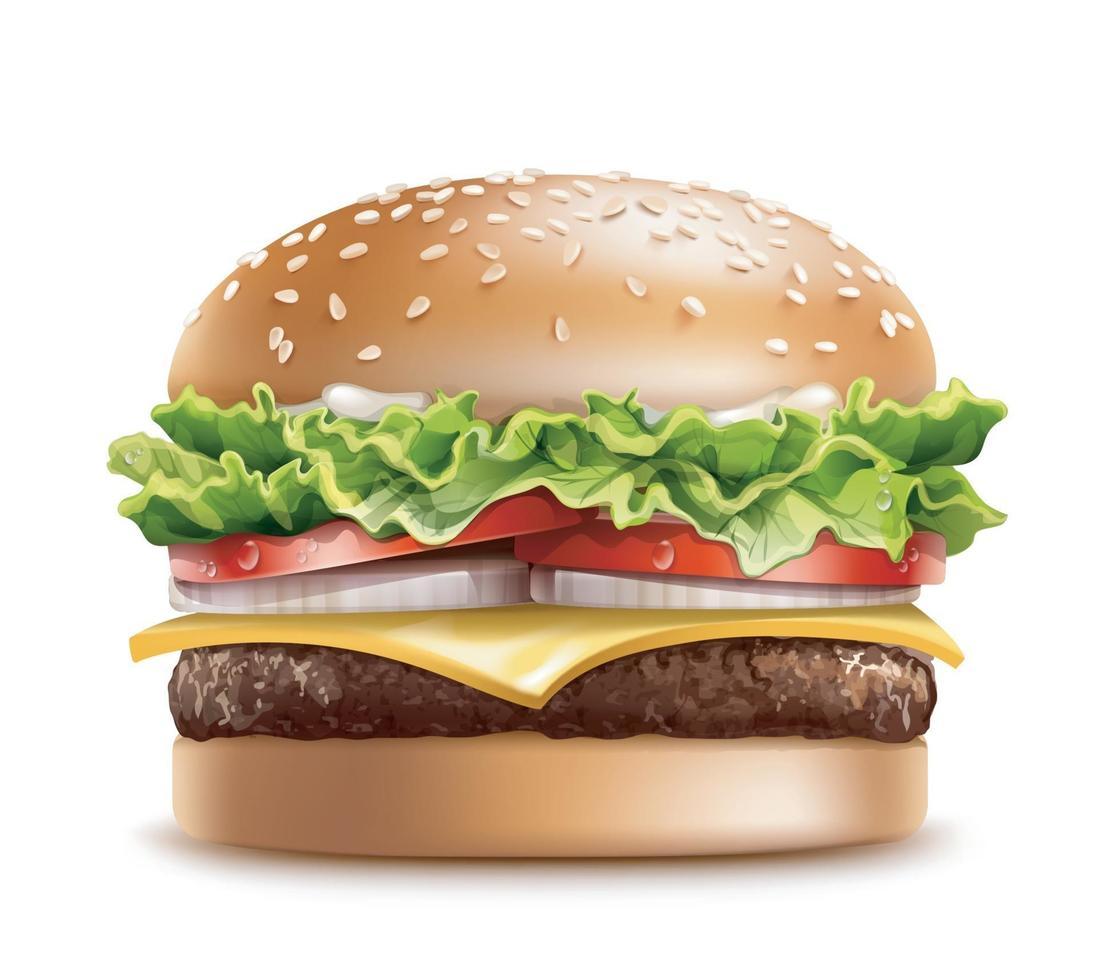 realistische detaillierte 3d leckere große Burger enthalten Fleisch, Brot, Salat und Tomate. Vektor eps 10