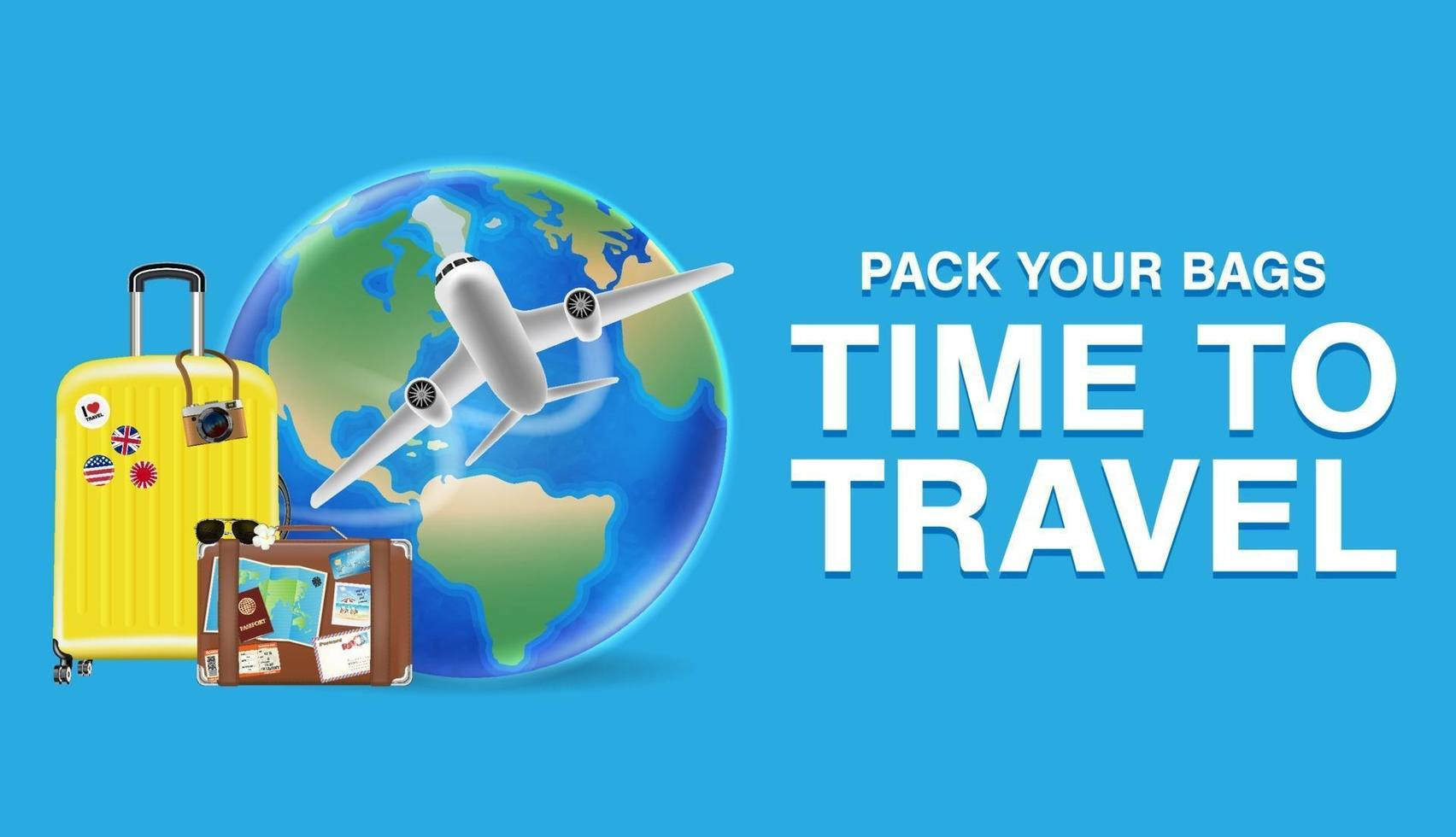 tid att resa med väska och världsreseföremål vektor