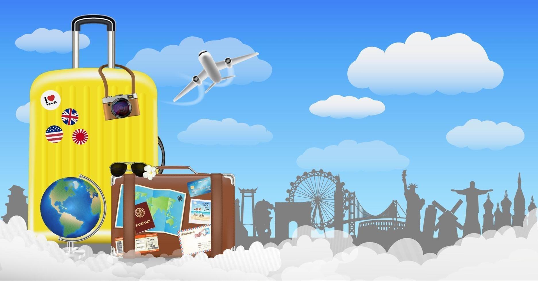 tid att resa med väska och världsresor vektor