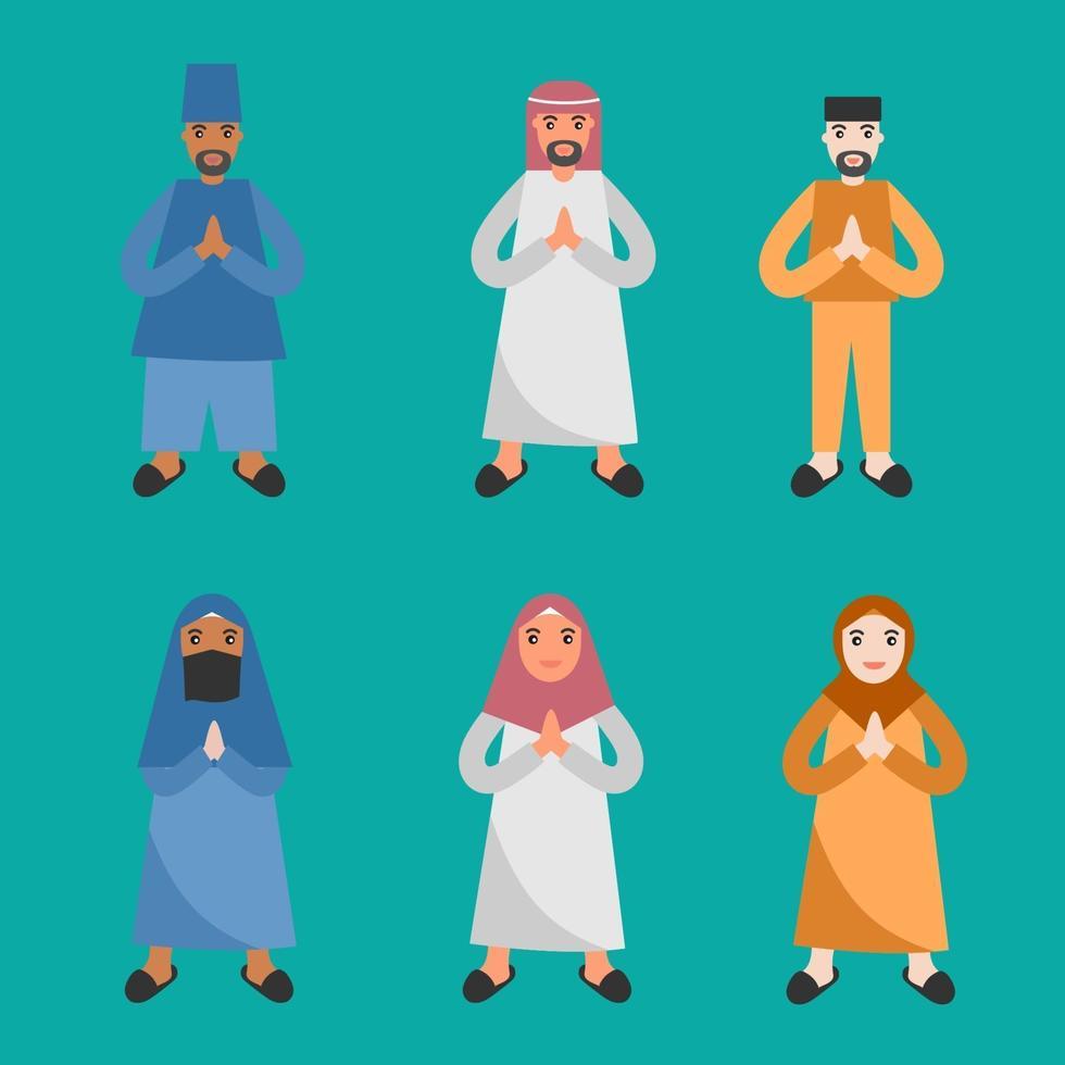 uppsättning av tre pojkar och tre tjejer klädda i islamisk klädställning och firar ramadhan, eid mubarak. fastedag för firande koncept. platt tecknad formgivningsmall. vektor illustration