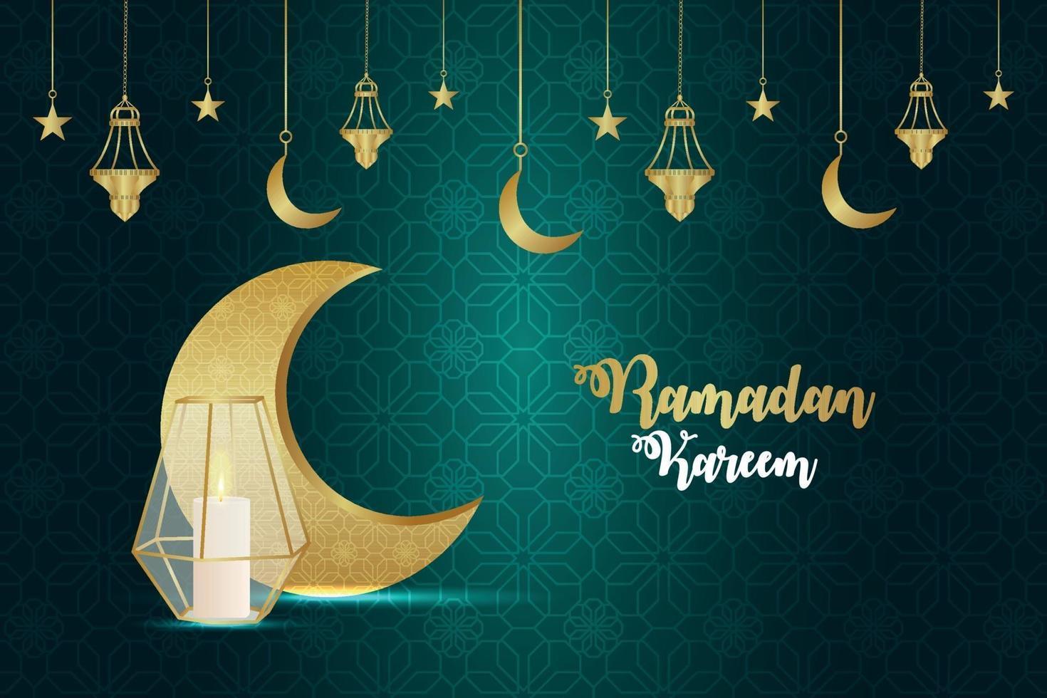 ramadan kareem inbjudningskort med gyllene månen och kreativ lykta på mönsterbakgrund vektor