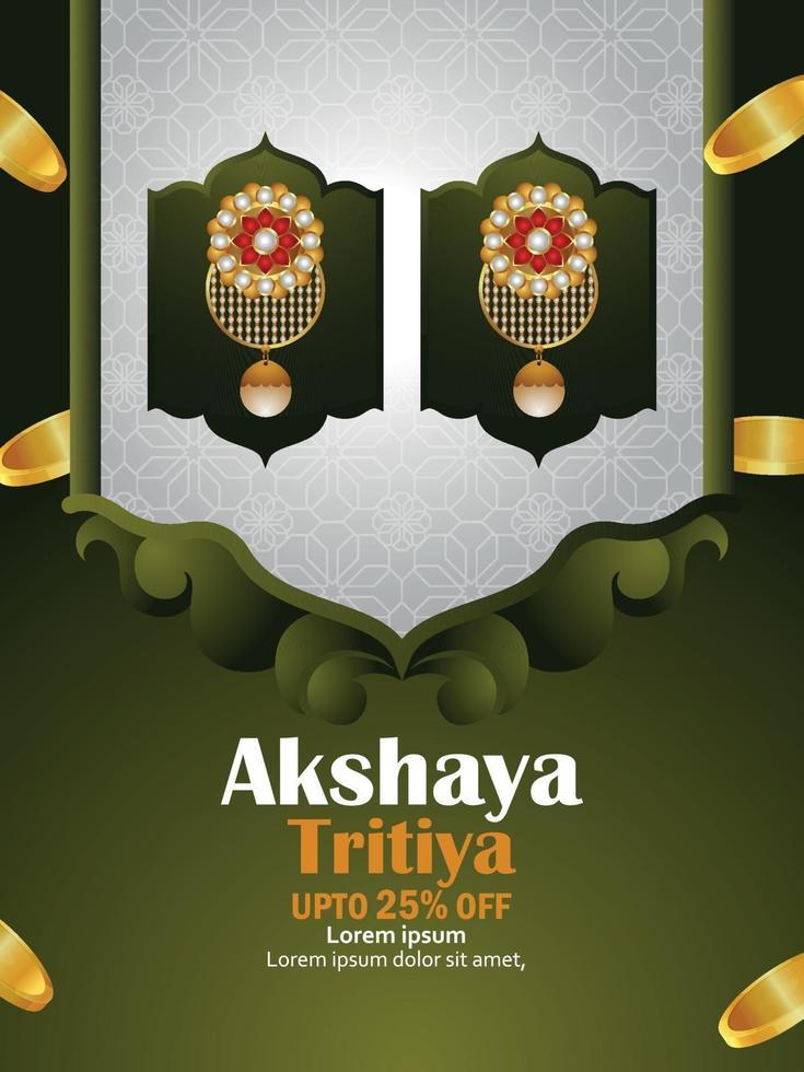 akshaya tritiya firar försäljningsreklam med guldmynt och realistiska guldörhängen vektor