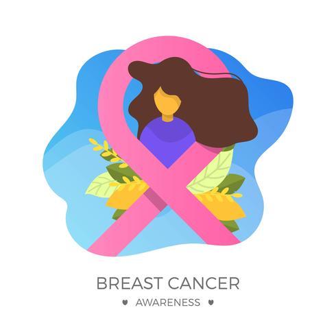 Flaches Brustkrebs-Bewusstseins-Band mit Hintergrund-Vektor-Illustration vektor