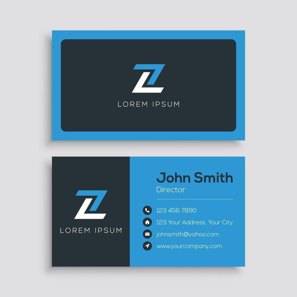 blå och svart mall för företags visitkort vektor