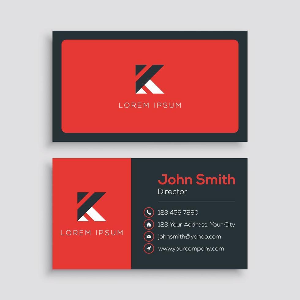 minimalistisk röd företags visitkortsmall vektor