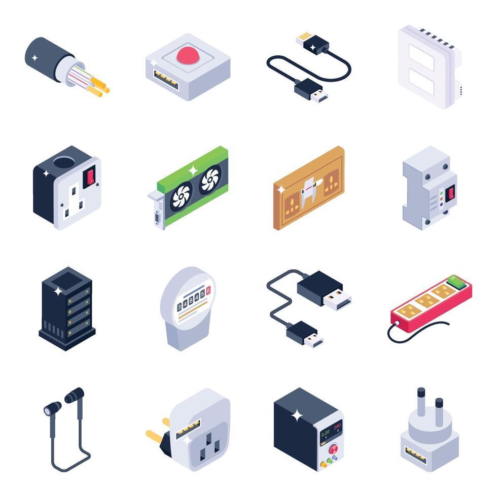 elektriska kontakter och nuvarande isometrisk ikonuppsättning vektor