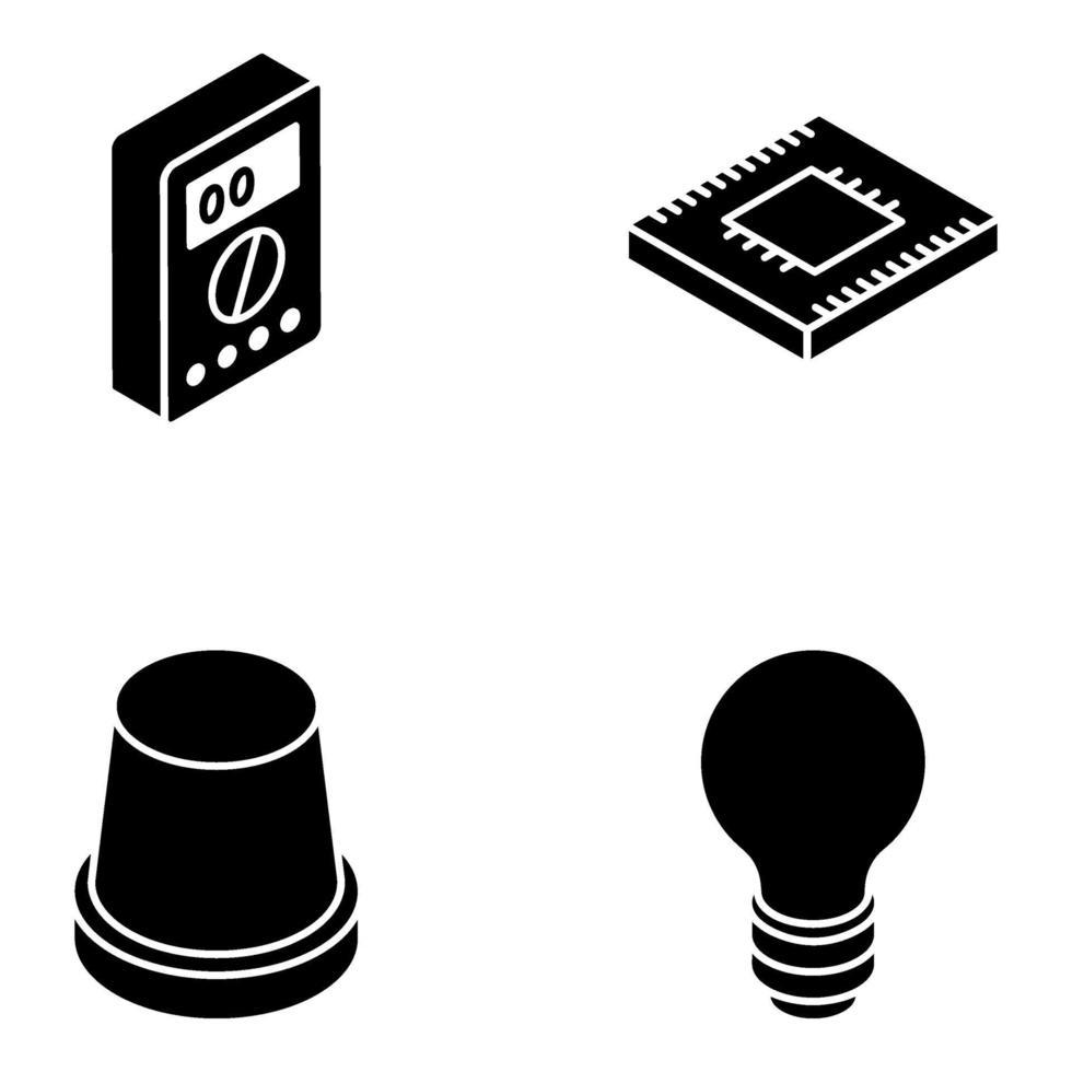 trendiga elektriska verktyg isometrisk ikonuppsättning vektor