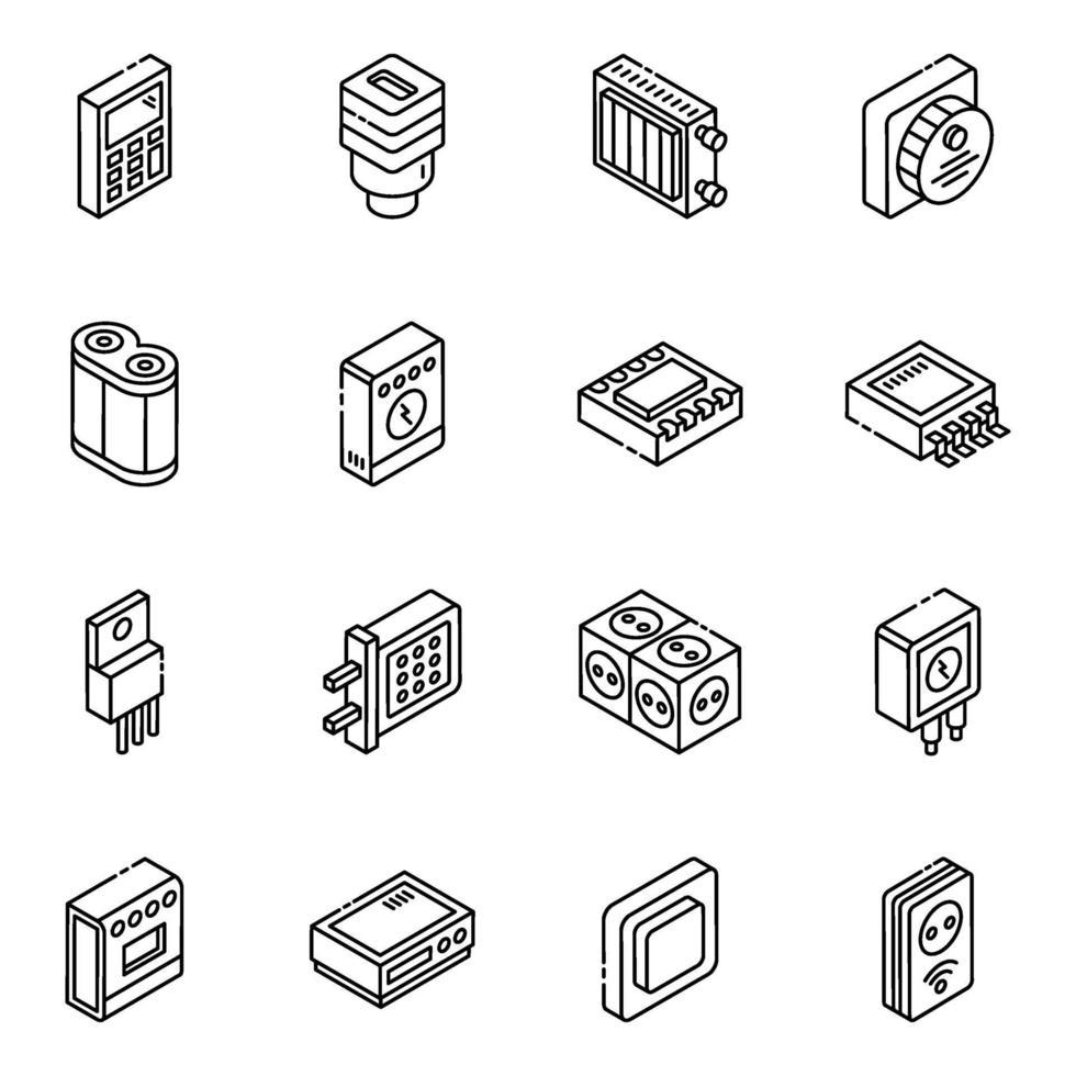 hårdvarukomponent och feedback isometrisk ikonuppsättning vektor