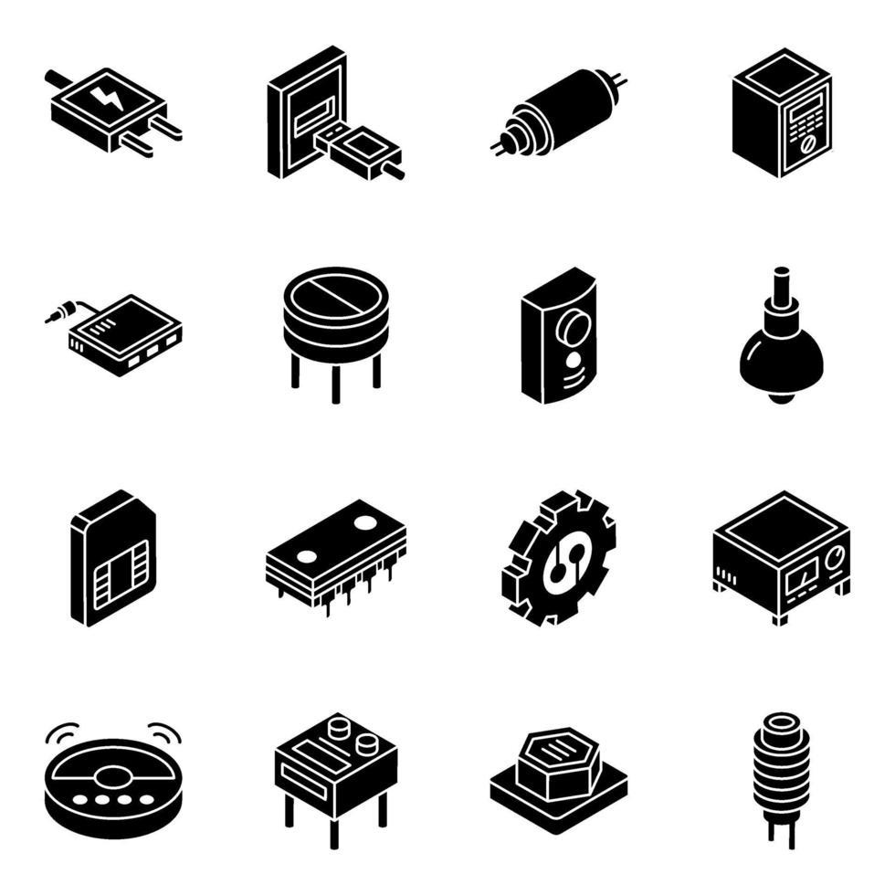 elektroniska komponenter och kondensatorer isometrisk ikonuppsättning vektor