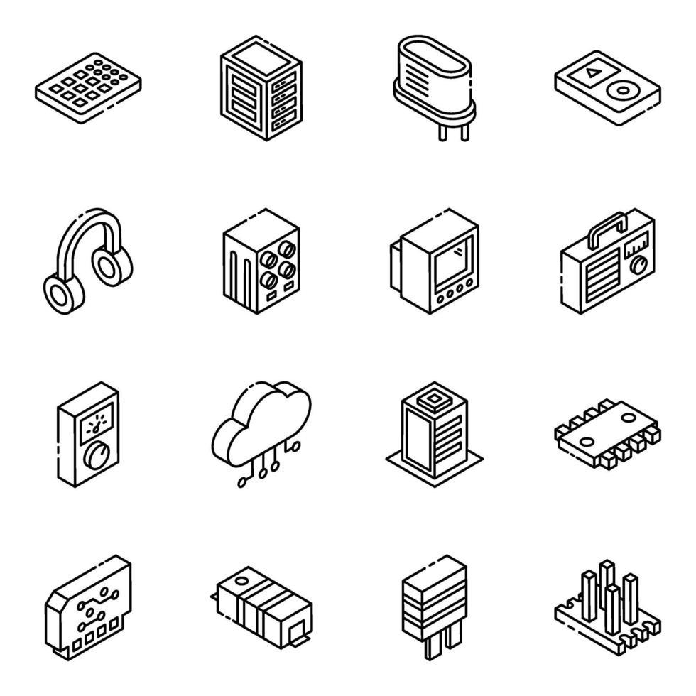 elektroniska komponenter och transistorer isometrisk ikonuppsättning vektor