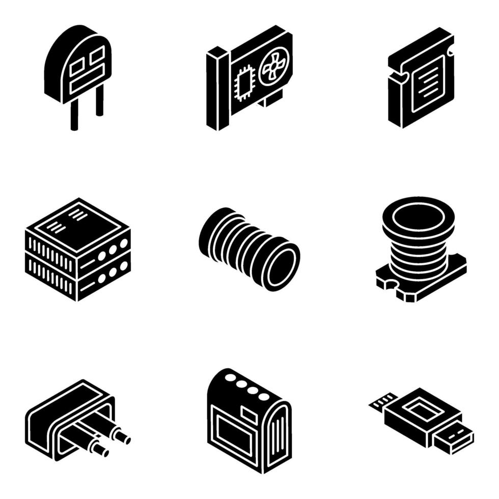 trendiga elektroniska komponenter isometrisk ikonuppsättning vektor