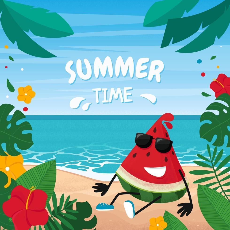 sommartid. söt vattenmelon på strandlandskap med tropiska löv. vektorillustration i platt stil vektor