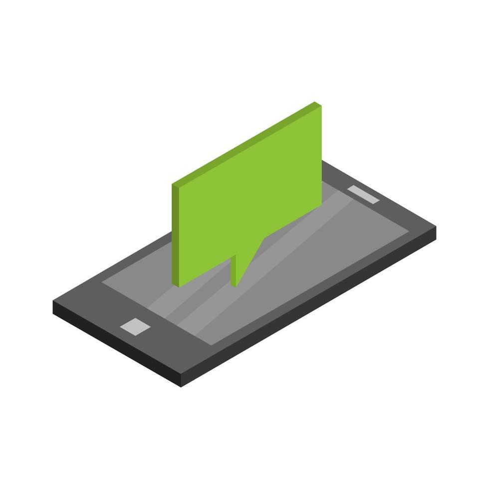 isometrisk dialogmoln på smarttelefonen vektor