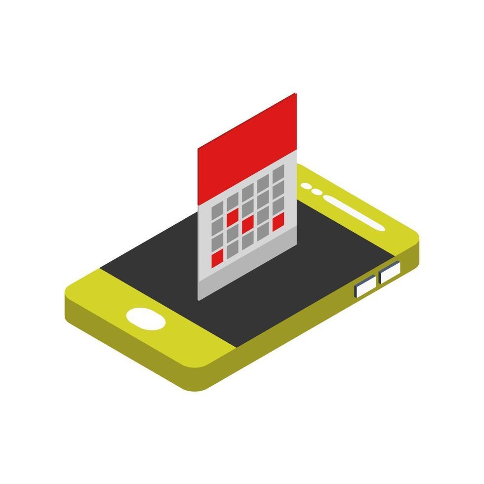 kalender på isometrisk smartphone vektor