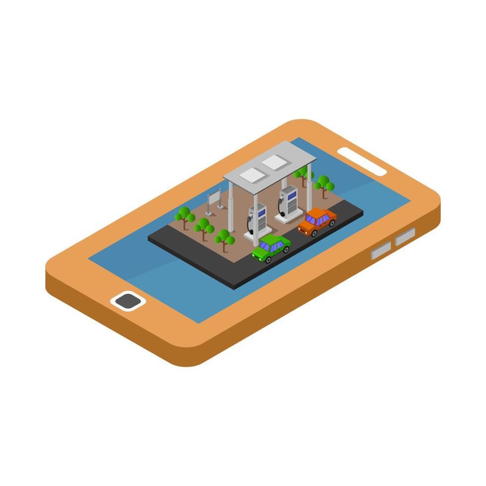 isometrisk bensinstation på smartphone vektor