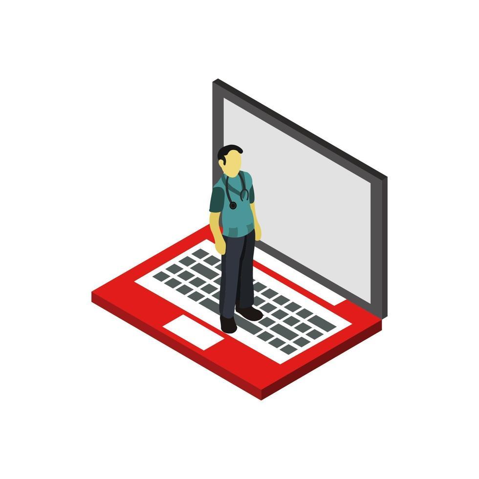 isometrisk läkare på bärbar dator vektor