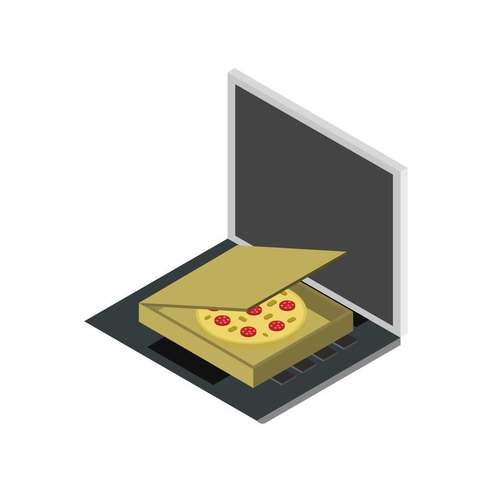 köp pizza online isometrisk på bärbar dator vektor