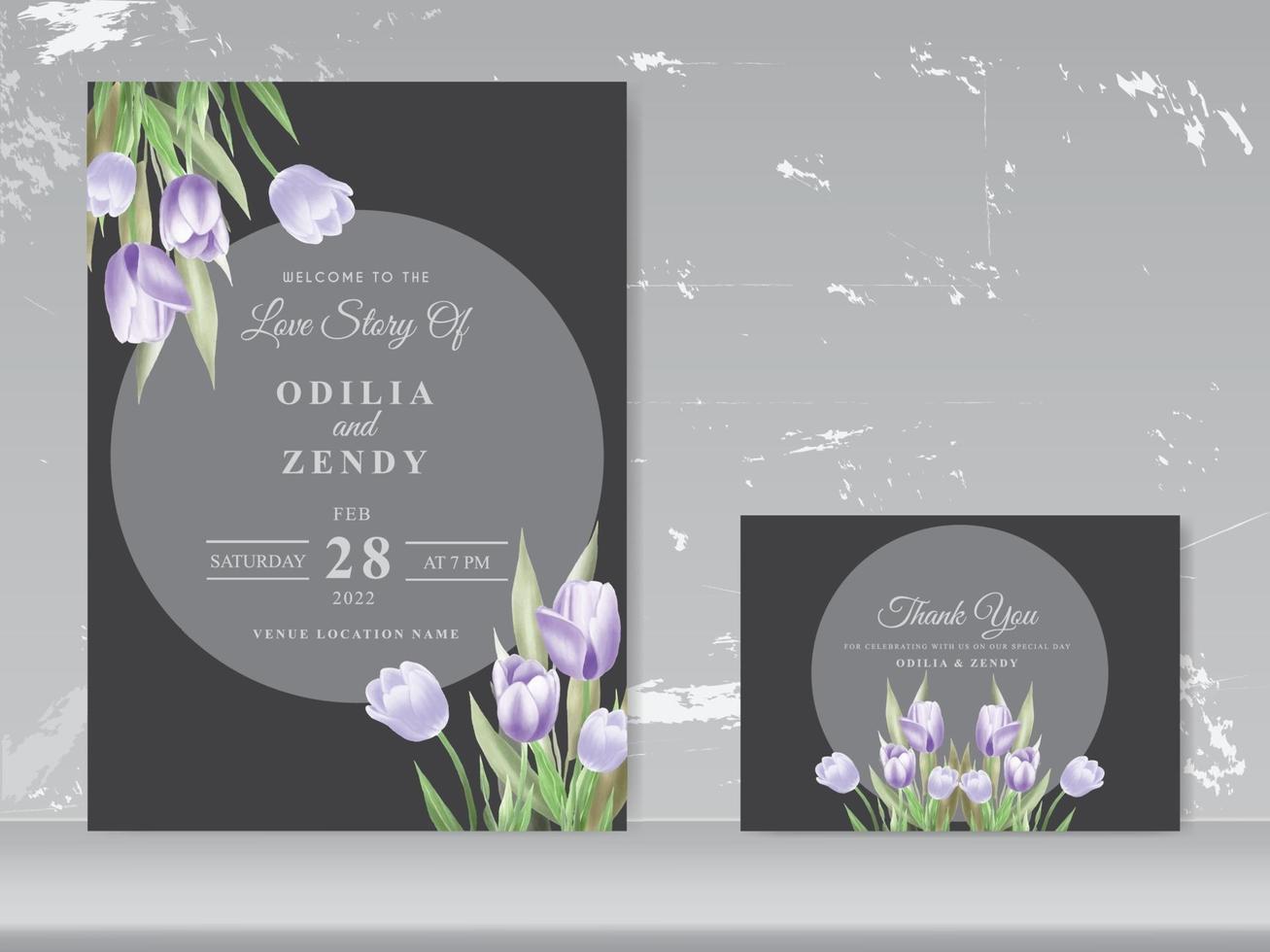 vacker tulpan akvarell bröllop kort vektor