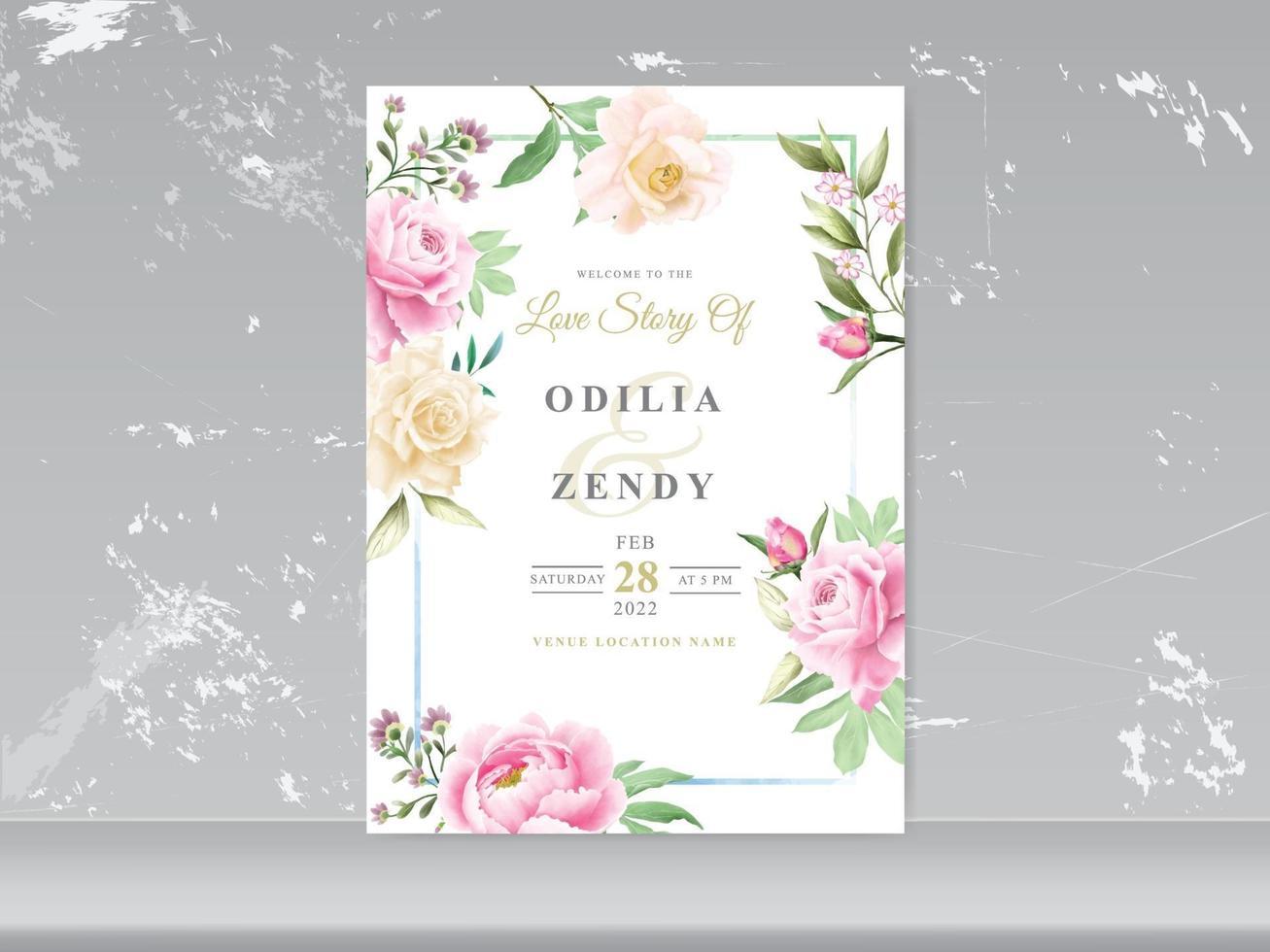 romantisk blommig akvarell bröllopskort vektor