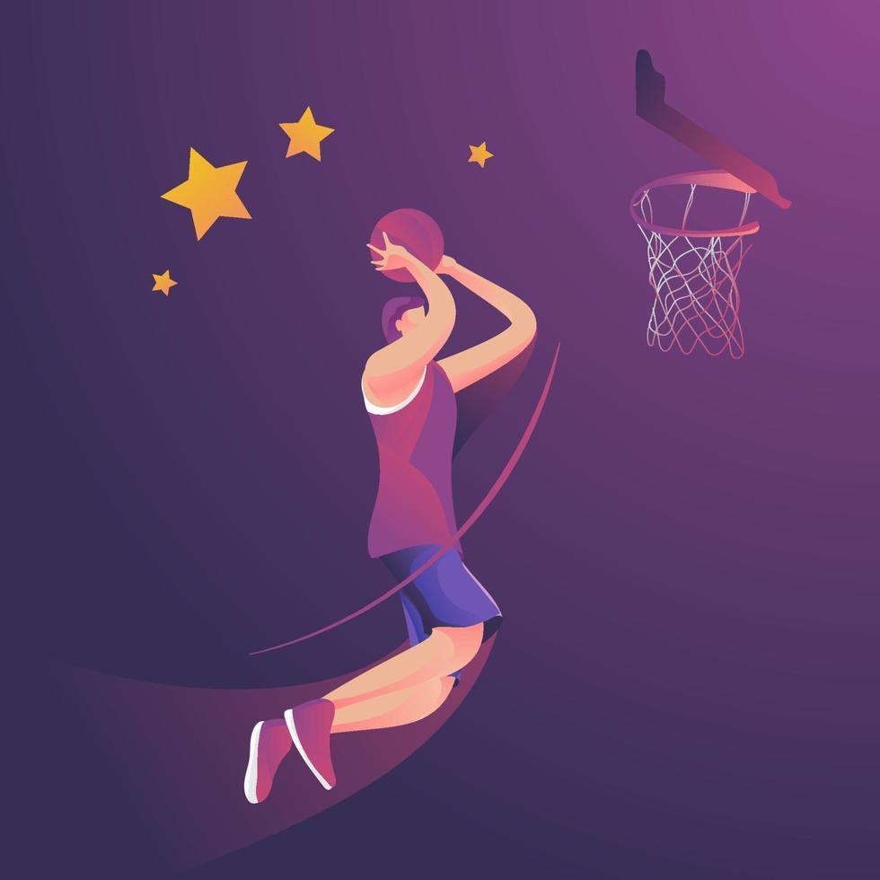 slamdunk basketspelare hoppar högt vektor