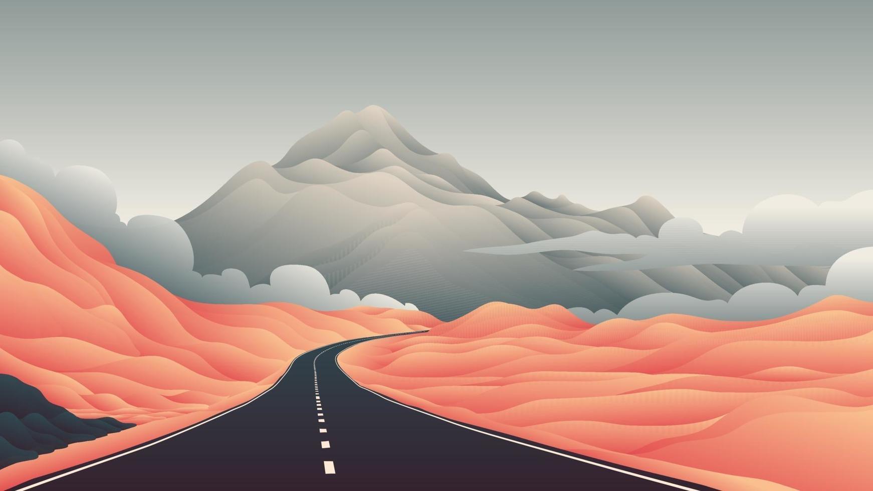 motorväg väg berg vektor