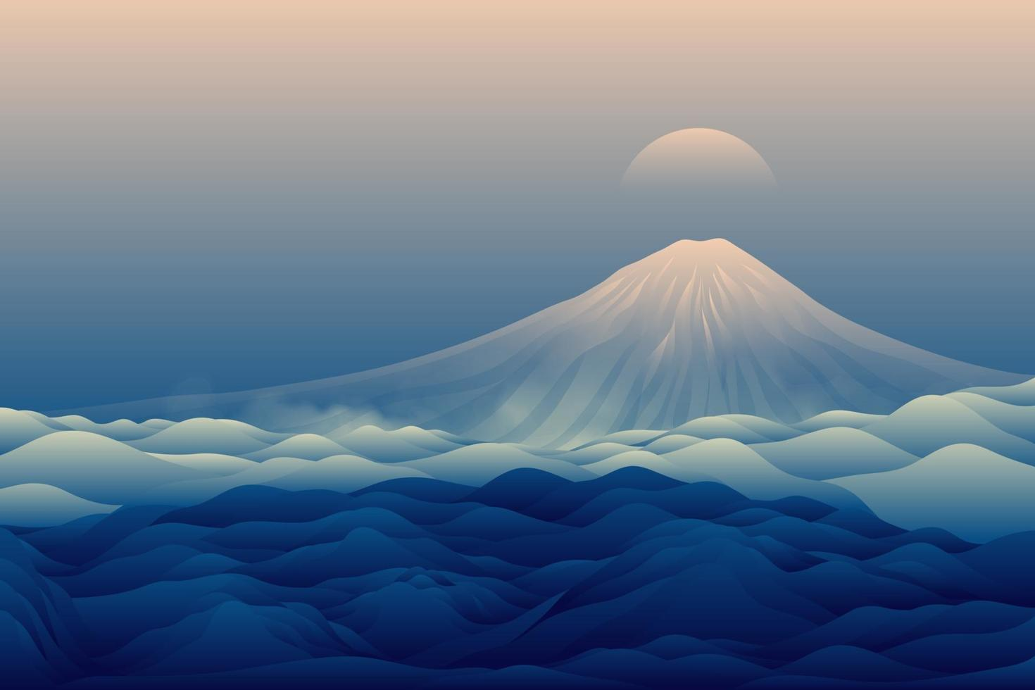 blå bergslandskap bakgrund vektor