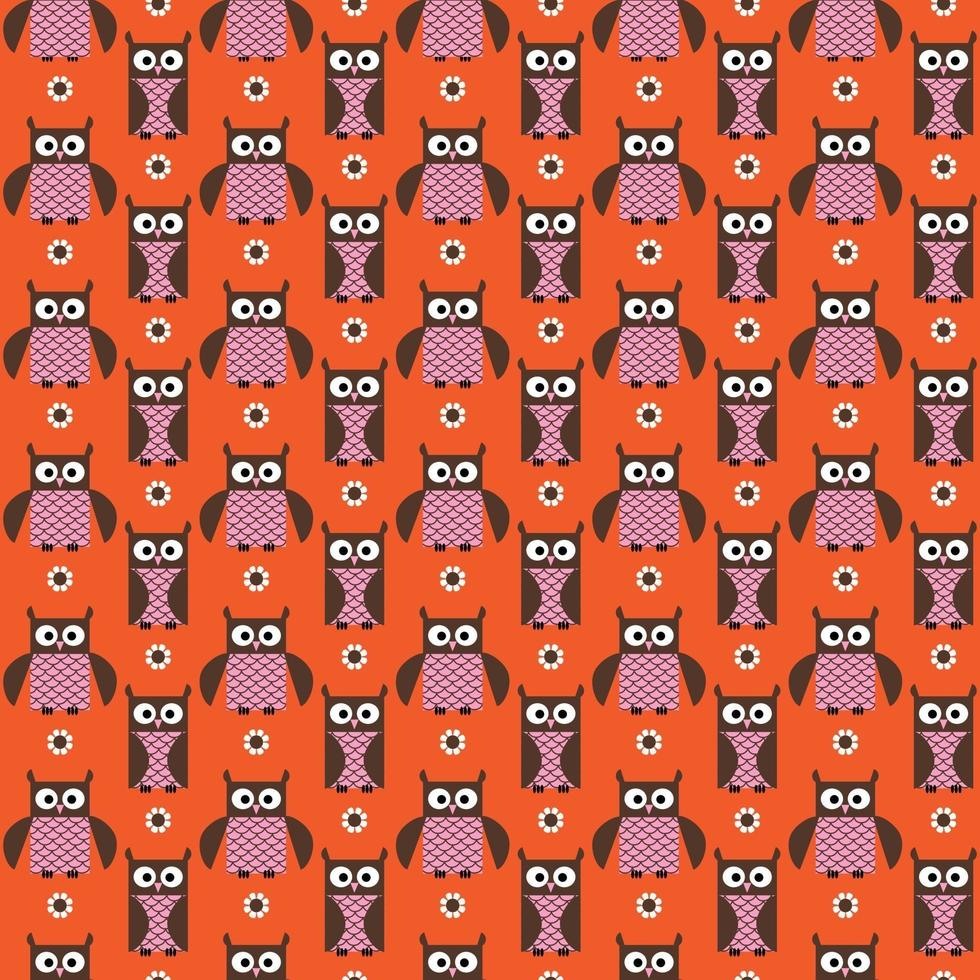 söt uggla och blomma sömlös rosa orange vektormönster vektor