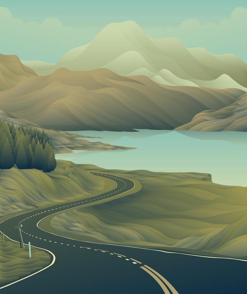 lång väg sjö berg vektor