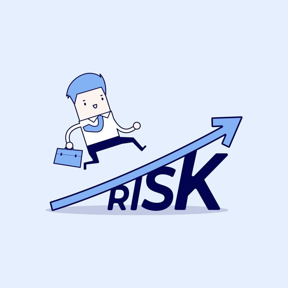 affärsman som går på växa upp aktiemarknadsdiagram över ordet risk. tecknad karaktär tunn linje stil vektor. vektor