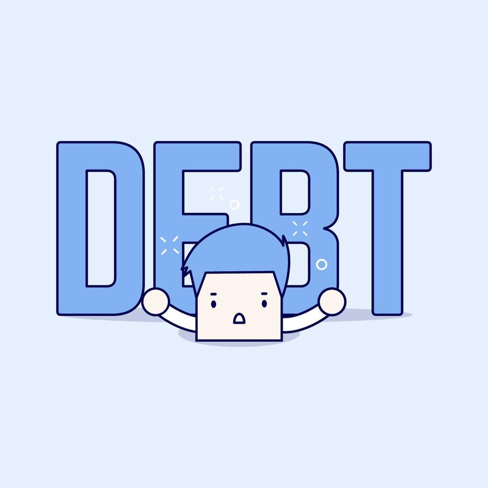 stor skuld är över affärsmannen. tecknad karaktär tunn linje stil vektor. vektor