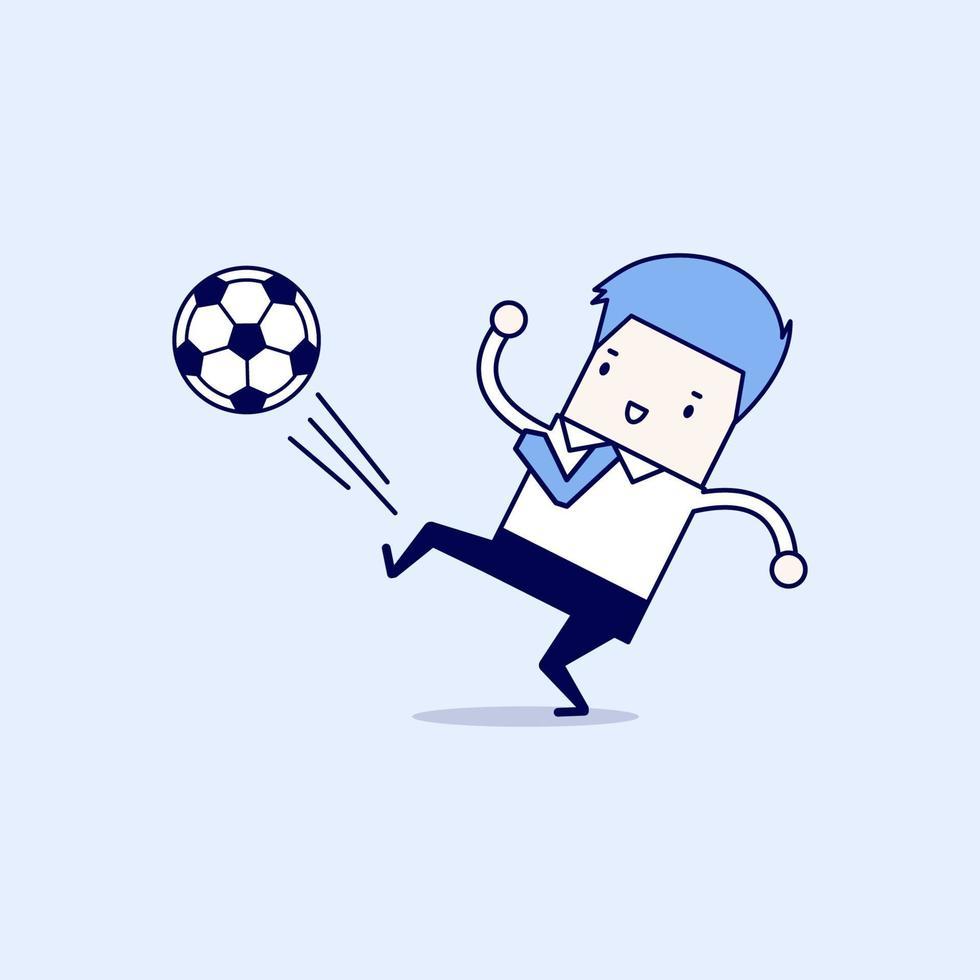 affärsman sparkar bollen. affärsman som spelar fotboll. tecknad karaktär tunn linje stil vektor. vektor