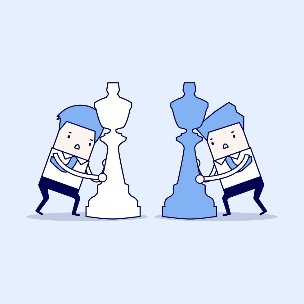 affärsmän med schackpjäser som slåss mot varandra vektor