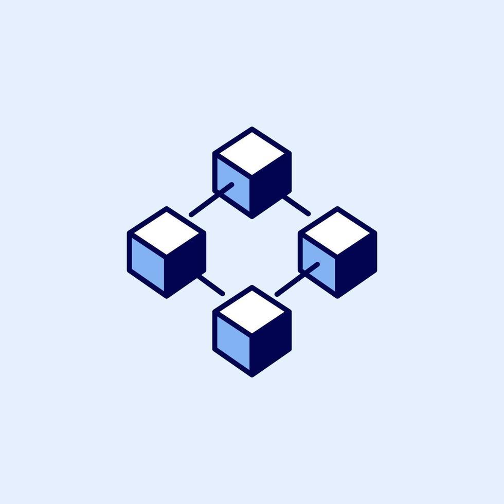 blockchain-teknikikon. block kedjesymbol eller logotyp element enkel stil. vektor