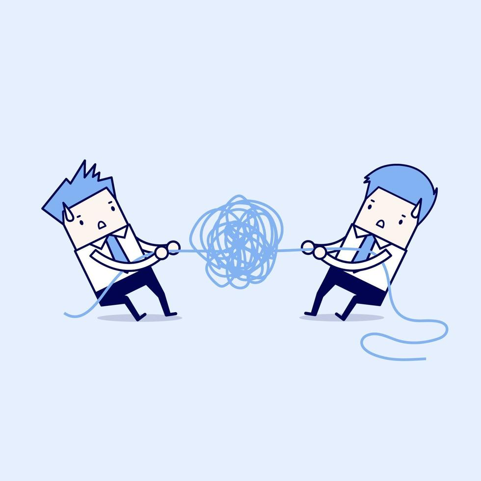 affärsmän som försöker riva upp trassligt rep eller kabel. tecknad karaktär tunn linje stil vektor. vektor