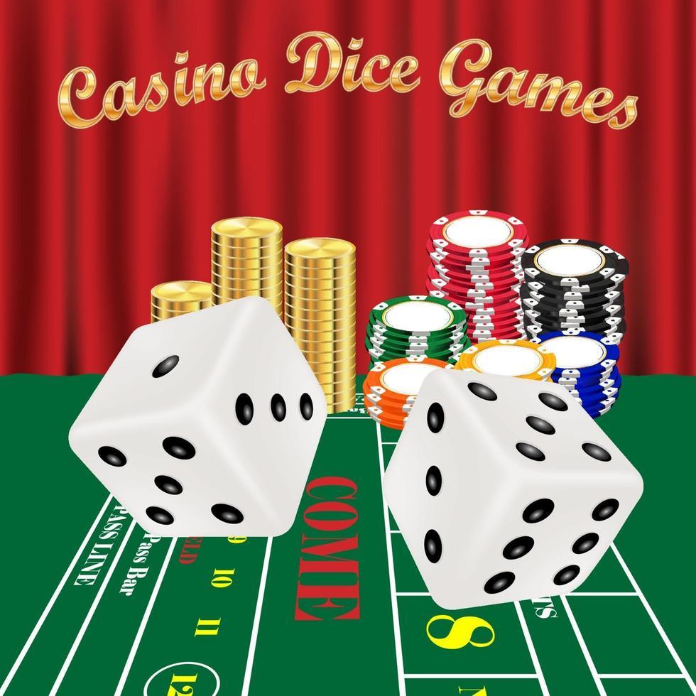tärningsspel med vita tärningar och kasinomarker vektor