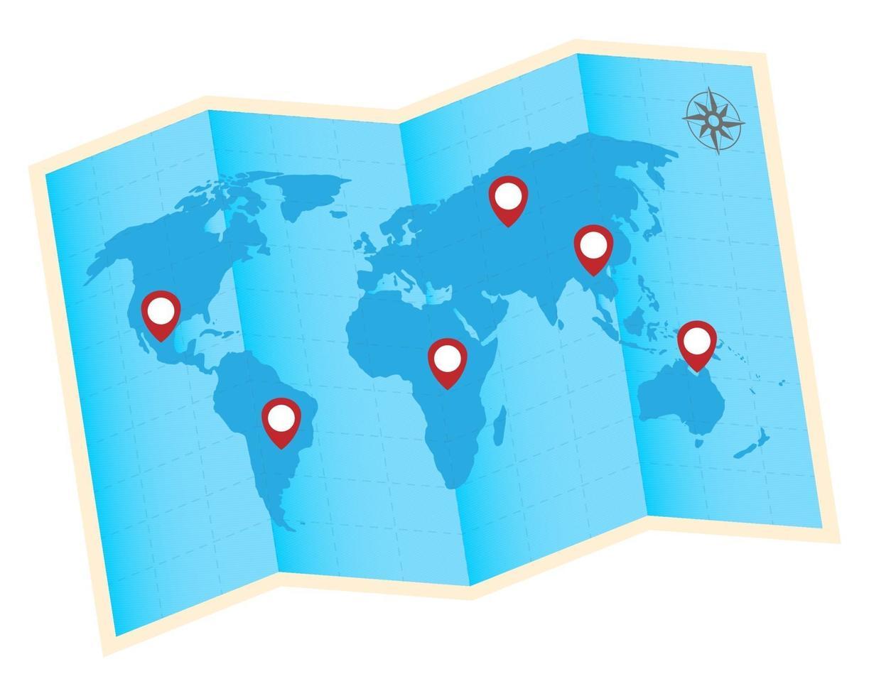 vikta världskarta med röda GPS-ikoner vektor