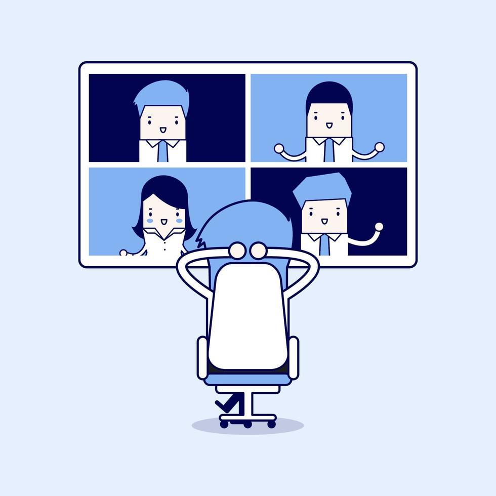 affärsman med videokonferens affärsmöte. virtuella online-möten, arbeta hemifrån. tecknad karaktär tunn linje stil vektor. vektor