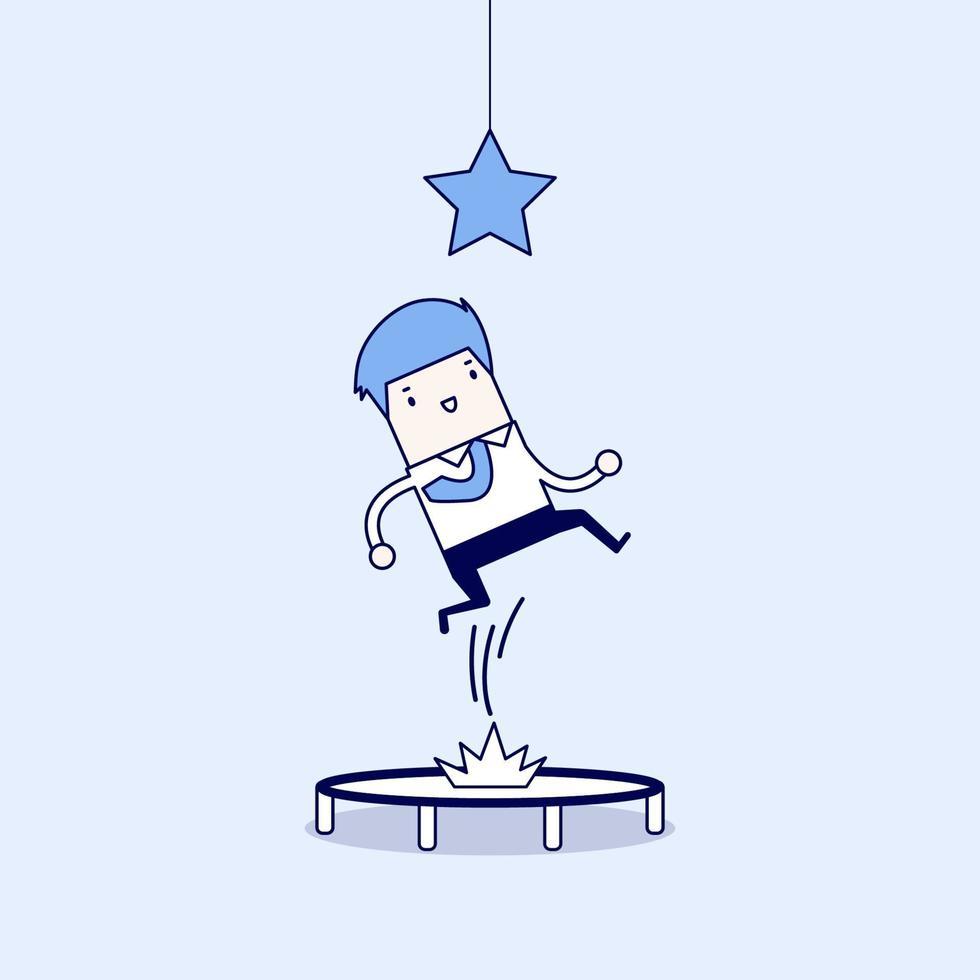 Geschäftsmann, der versucht, den Stern zu fangen, indem er auf Trampolin springt. Karikatur Charakter dünne Linie Stil Vektor. vektor