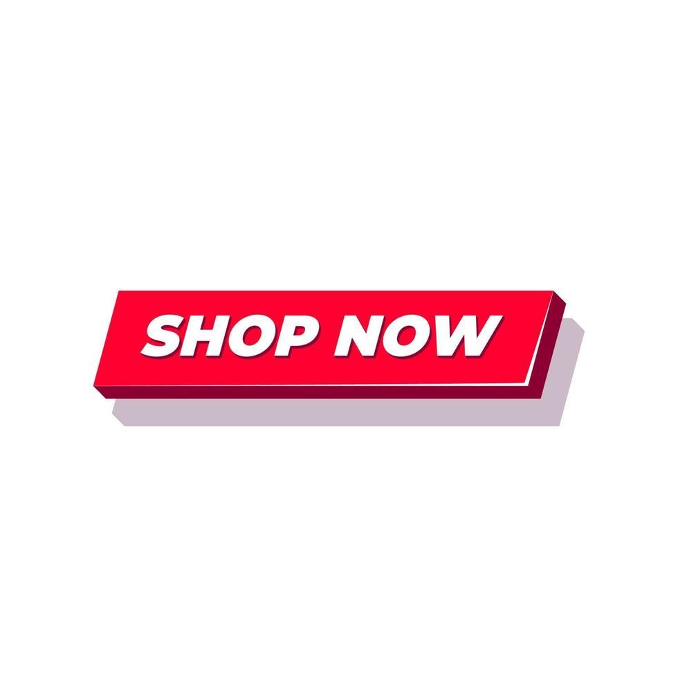 shoppa nu-knappen. röd knapp för webbplats. vektor